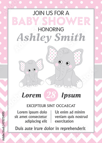 Valokuva  Vector Card Template with Cute Elephants for Baby Girl Shower