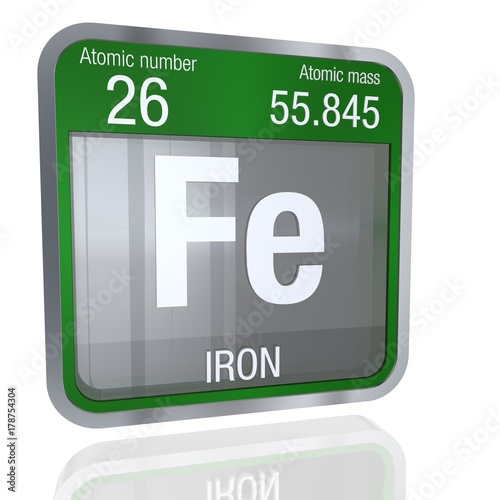 Iron Symbol In Square Shape With Metallic Border And Transpa Background Reflection On The Floor