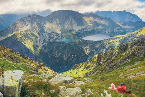 Foto auf Gartenposter Gebirge Aerial view of Five lakes valley in High Tatra Mountains, Poland