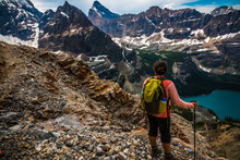 Female Hiker Overlooking Lake O'Hara From Huber Ledges Trail