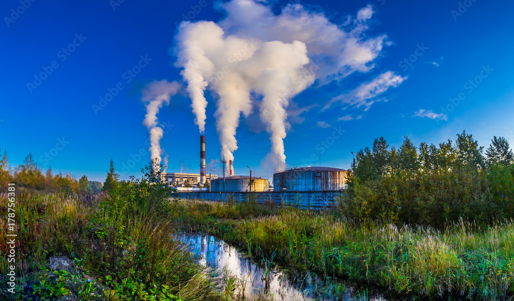 Fototapeta Environmental pollution. Smoke from the factories.