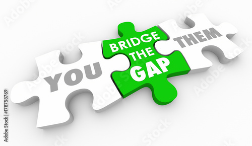Photo Bridge the Gap Between You and Them Close Differences Puzzle 3d Illustration