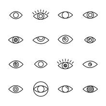 Premium Set Of Eye Line Icons