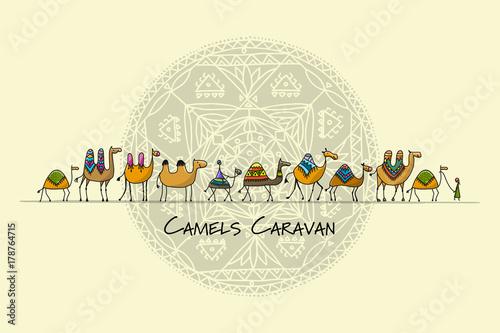 Photo Camels caravan, sketch for your design
