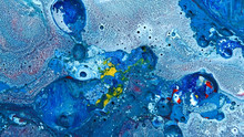 Complex Blue And Red And Yellow And White Spheres Wash Vibrant Bright Paint And Oil Color Swirls Entropy