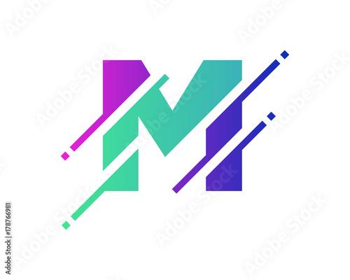 Photo Digital Letter M Pixel Icon Logo Design Element