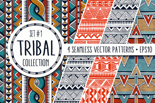 Foto auf AluDibond Boho-Stil Colorful ethnic backgrounds collection. Set of 4 modern abstract seamless backgrounds. All patterns are available under the clipping mask. EPS10 vector illustration.