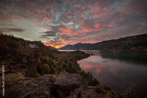 Bright wide sunset in the Columbia Gorge Canvas Print