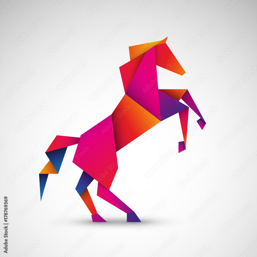 Fototapeta koń origami wektor