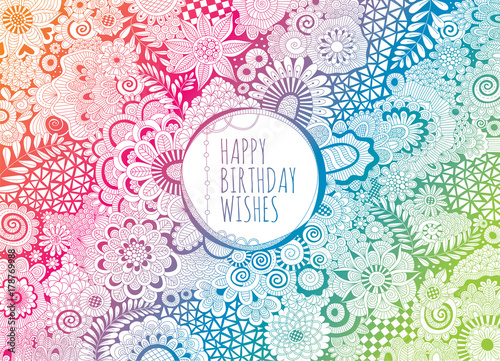 happy birthday wishes doodle vector lineart multi coloured hand