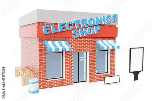 Electronics Store with copy space board isolated on white background