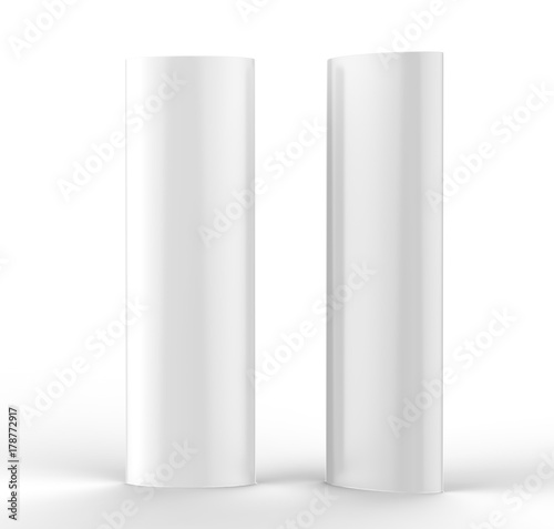 Curved totem poster light advertising display stand. 3d render illustration. Wall mural