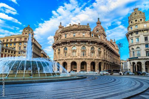 Fotografie, Obraz  Piazza De Ferrari in Genoa Italy