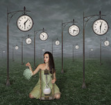 The girl is on the meadow of filled with a street clock.