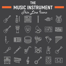 Music Instruments Line Icon Set, Audio Symbols Collection, Musical Tools Vector Sketches, Logo Illustrations, Signs Linear Pictograms Package Isolated On Black Background, Eps 10.
