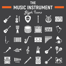 Music Instruments Glyph Icon Set, Audio Symbols Collection, Musical Tools Vector Sketches, Logo Illustrations, Signs Solid Pictograms Package Isolated On Black Background, Eps 10.