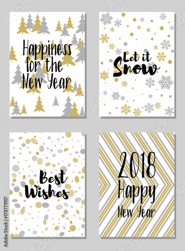 greeting new year cards let it snow and other text vector templates set