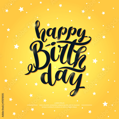 Spoed Fotobehang Halloween Modern hand drawn lettering Happy Birthday. Handwritten inscriptions for layout and template.