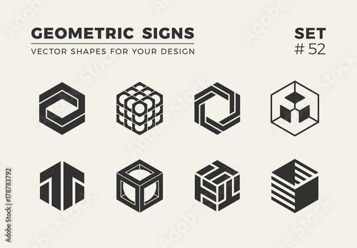 Fotografía  Set of eight minimalistic trendy shapes