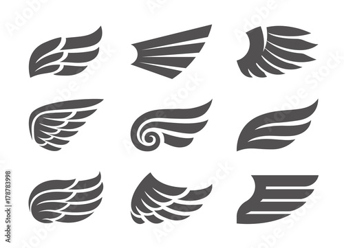 Leinwand Poster  Set of Vector Wings