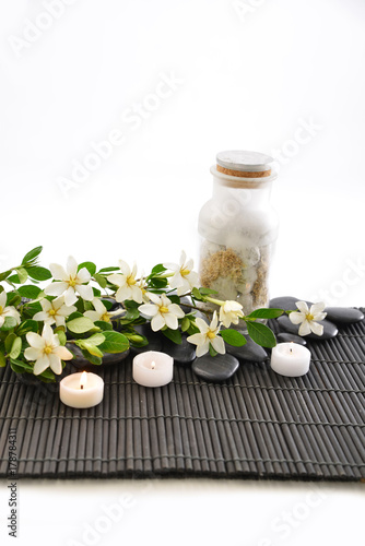 Poster Spa Composition of tropical spa treatment on mat