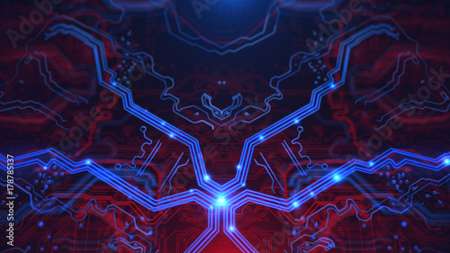 Abstract Blue Neon Energy Lights Technology Terminal