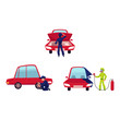 Auto mechanic checking engine, painting car and changing tire, cartoon vector illustration isolated on white background. Auto mechanic, technician checking car engine, painting it, changing tire