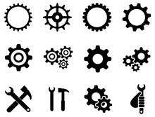 Black Gears And Setting Vector Icon Pack