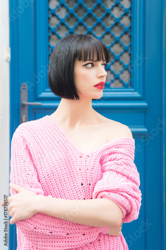 beauty and fashion, parisian woman with red lips Wall mural