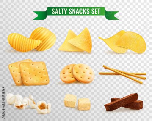 Leinwand Poster Crispy Snacks Transparent Set