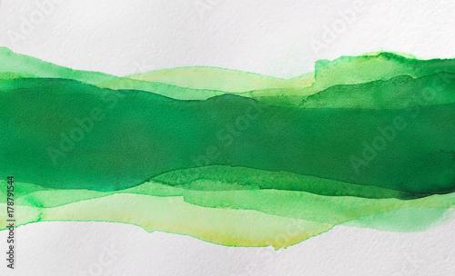 Plakat Wielowarstwowe akwarele, zielony poziomy pasek do projektowania