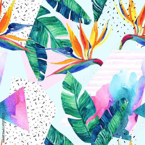 Deurstickers Paradijsvogel Watercolor exotic flowers, leaves, grunge textures, doodles seamless pattern.
