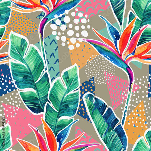 Deurstickers Grafische Prints Watercolor tropical flowers with contour on geometric background.