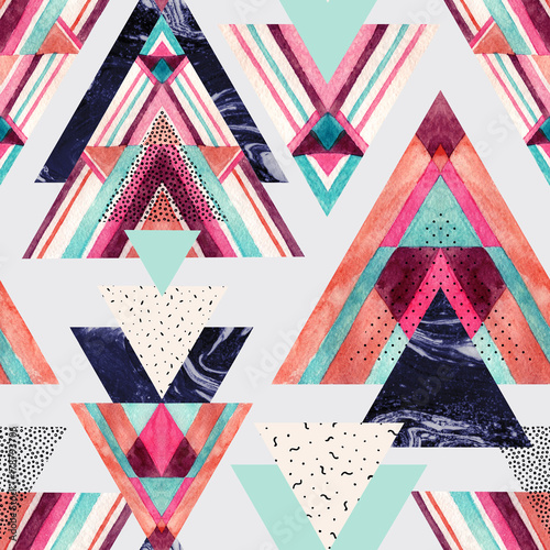 Papiers peints Empreintes Graphiques Triangles with aztec ornament, watercolor, doodle, black marble textures.