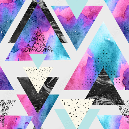 Photo sur Toile Empreintes Graphiques Triangles with watercolor, doodle, black marble textures.
