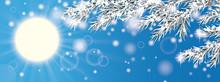 Blue Sky Frozen Twigs Sun Glitter Deco Header