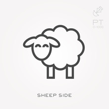 Line Icon Sheep Side