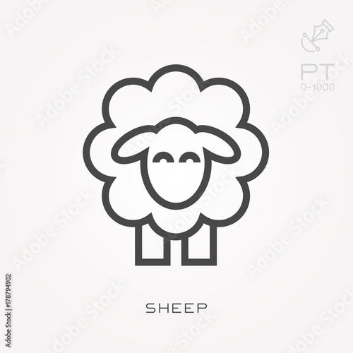 Valokuvatapetti Line icon sheep