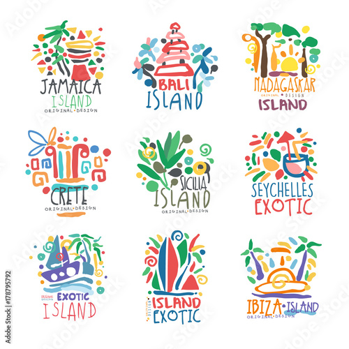 Foto  Exotic islands summer vacation colorful logo set