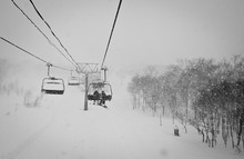 Chair Lift In A Snow Strom