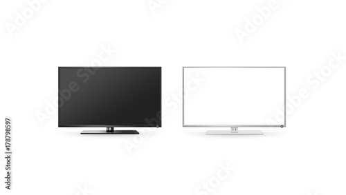 Tv Lcd Flat Screen Mock Up Isolated Black And White Set 3d