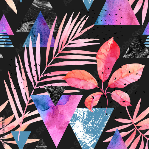 Watercolor exotic leaves, grunge textures, doodles seamless pattern in rave colors