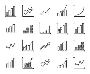 Set of premium growth icons in line style.