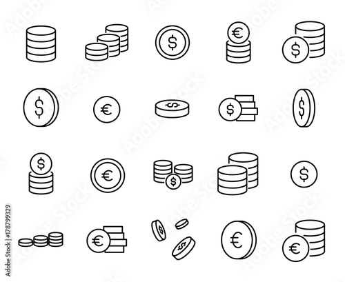 Fotomural Simple collection of coin related line icons.