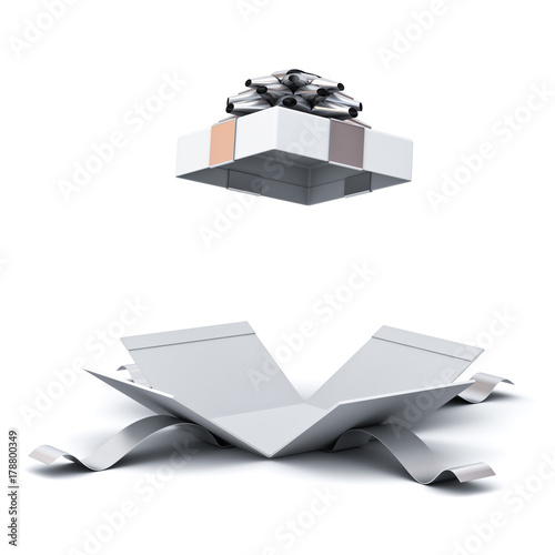 Photo  Open gift box , present box with silver ribbon bow isolated on white background with shadow