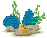 Marine algae, yellow tube sponges and sea anemones growing on a rock sea life. Vector illustration