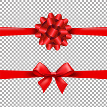 Red Ribbon Bow Set In Transparent Background