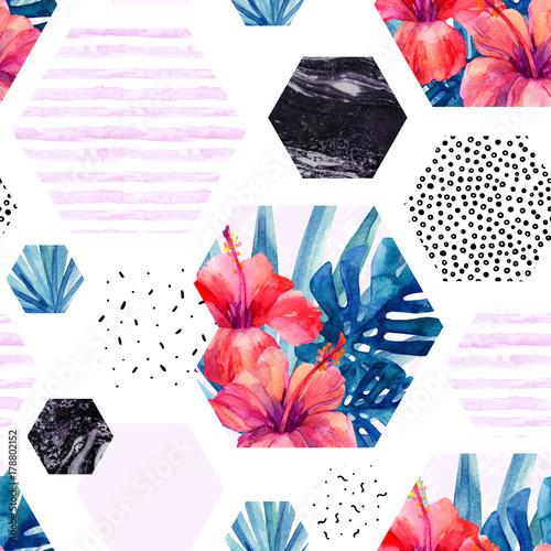 Printed kitchen splashbacks Watercolor Nature Abstract watercolor tropical seamless pattern.