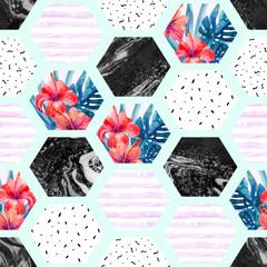 FototapetaAbstract summer hexagon shapes seamless pattern