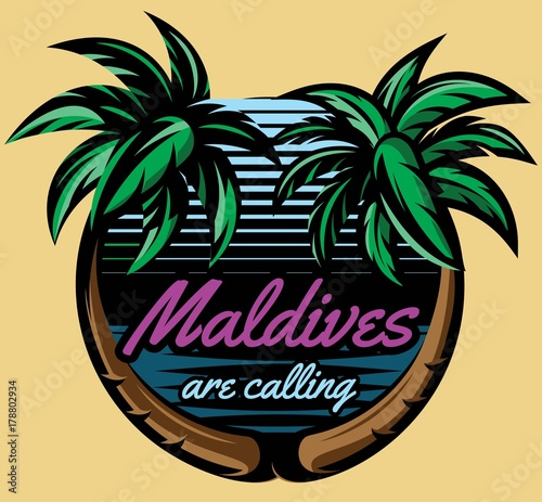 Template for logo on the theme of tourism with palm trees Wall mural